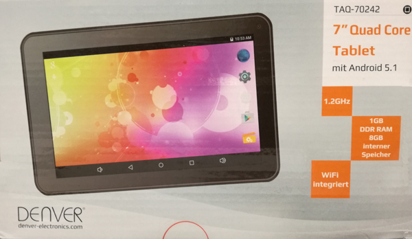 "Denver 7"" Tablet TAQ-70242MK2 1,2 GHz, 1GB DDR RAM, 8 GB intern, Build in Wifi Android 5.1"